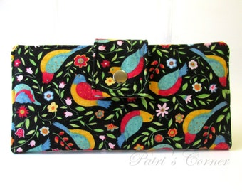 Handmade women's wallet clutch Colorful small birds and flowers - ID clear pocket - ready to ship
