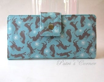 Handmade women wallet - Dancing happy bunny - Cute bunnies - ready to ship - clutch purse - Happy hare - gift ideas for her