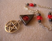 Fire Flower Elemental Pentacle Necklace in Silver, Red, and Hematite - Triangle Pendant