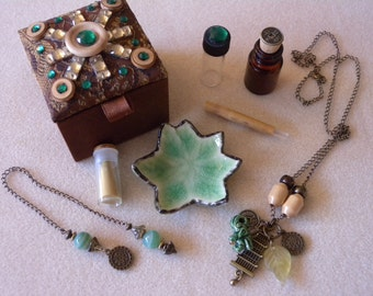 Mini Altar Kit - Asian Inspired, Travel Size, Portable, OOAK, with Wand, Pendulum, Incense, etc.