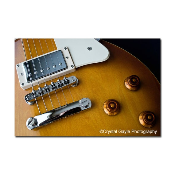 Home Decor Photography Print, Golden Brown Electric Guitar Fine Art, Man Cave Wall Decor, Gift for Artists, Musician, Recording Studio