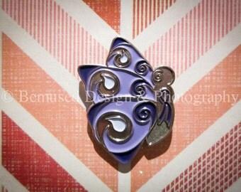 Sale - Lot of 5 Swirlie Butterfly Purple Ribbon Lapel Pins