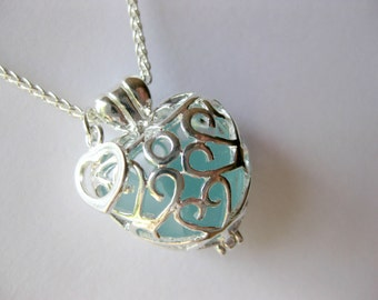 Sea glass Heart  Locket  sea glass jewelry seaglass locket