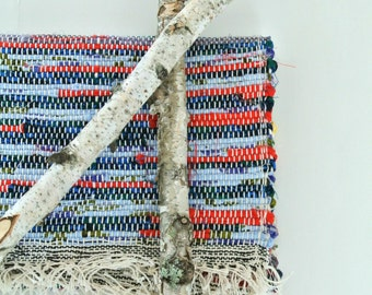 Hand-Woven-Union #36 Rag Rug Loom-Cotton/Cotton Blend Fabric-Blues, Yellow, Red-Gray