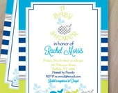 Whales and Ocean Baby Shower Invitations, Birthday Invitations Set of 10, Personalized and Professionally Printed, Whales