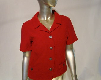 Bright Vintage Cranberry Red 1950's Kimberly Wool Short Sleeve Jacket - Vintage size 12 -1950's Sweater Jacket -1950's Knitwear