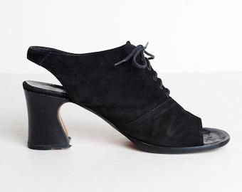 Vintage 90s Suede High Heel Sandals / Black Open Toe Shoes 8.5 38.5