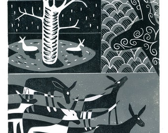 Donkey Collage No.2 two-colour linocut print in grey and black