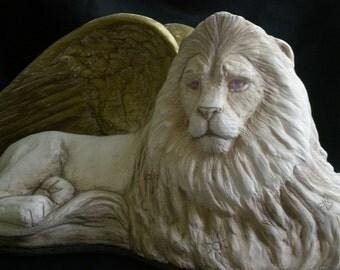 Golden Winged Lion Sculpture