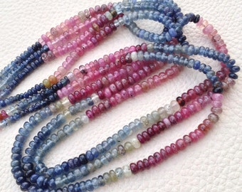 Brand New, RARE Natural MULTI SAPPHIRE Smooth Rondelles,3.5-4mm Size,Full 14 Inch Strand,Rare Item at Low Price.