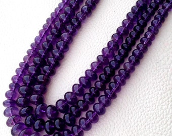 Brand New, AAA Quality Natural AMETHYST Smooth Rondells, 8mm Size Rondells,Full 8 Inch Long Strand Great Item