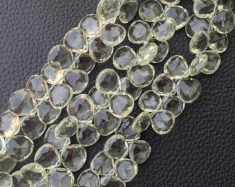 Brand New, 10 Matched Pair Gorgeous, Super Quality GREEN AMETHYST 11x11mm Heart Shape Briolettes,Great Price