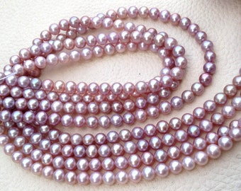 Brand New, LAVENDER Pink Pearl Smooth Round Balls, 5mm Size, Full 16 Inch Long Strand,SUPER-FINEST-Natural- Fresh-  Water Perals