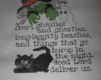 Ghoulies & Ghosties Lord Deliver Us Finished Cross Stitch