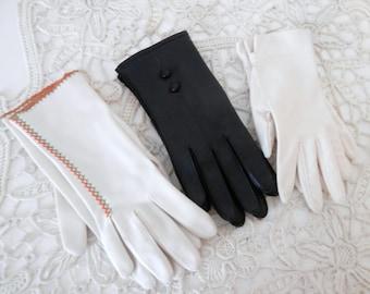 Vintage Ladies Gloves - Three Pairs - White - Black - Beige with Decorative Trim