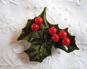 Vintage Celluloid Christmas Green Holly and Red Berries Brooch