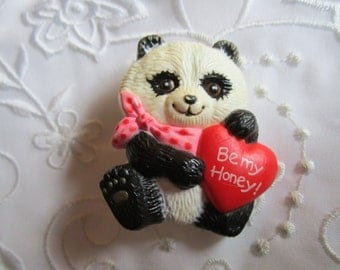 Vintage Enesco Plastic Panda Bear Pin with Red Heart