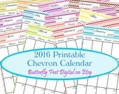 SALE - Printable Calendar 2016 Chevron, Instant Download, JPG 300 dpi