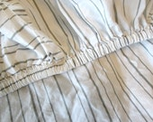 Reserved for Chris Twin Cotton Sheets, Fitted and Flat  Grey Stripe
