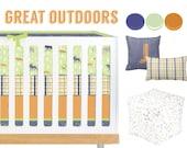 Great Outdoors Crib Bedding, Baby Bedding, Orange, Navy, Sage, Lime, Plaid, Woodland, Deer, Fox, Moose Baby Boy Nursery