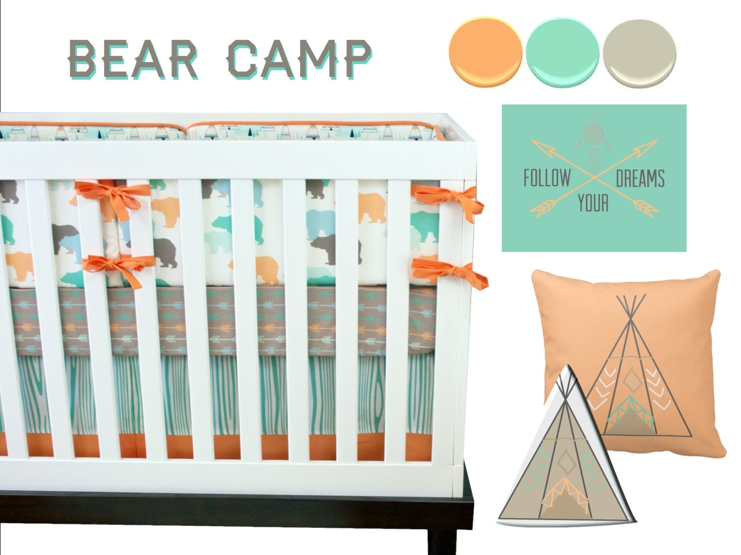 Bear crib bedding bear baby bedding mountain crib set for Mountain crib bedding