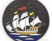 Vintage Ruscha West German Pottery Ship Plate