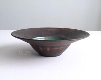 Helen Faibish Studio Pottery Raku and Green Glazed Bowl