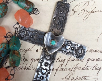 HEART of the SOUTHWEST - Vintage Turquoise Cross with Turquoise Nuggets and Orange Chalcedony