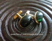 Vintage SWANK Cufflinks free shipping Gold Tone and Almost Black Green Swank Cuff links Oval