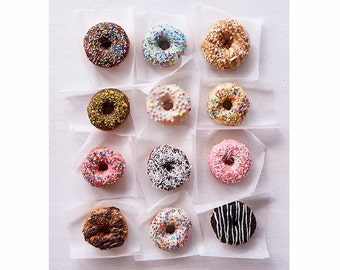 Food Photography, Donuts, Kitchen Decor, Nursery Decor, Pastel Photograph, Chocolate, Candy Pink-Candy Crush