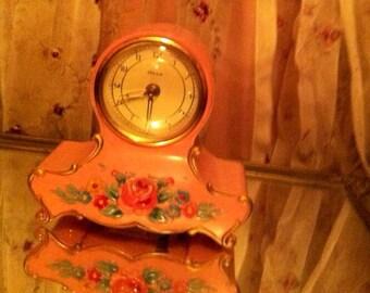 Vintage alarm clock roses pink clock