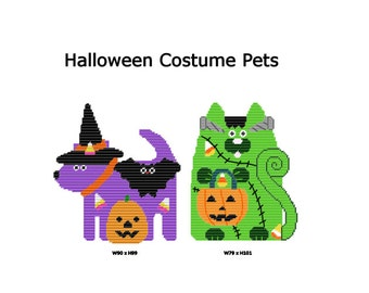 Plastic Canvas Halloween Costume Pets Wall Hanging PDF Instant Download