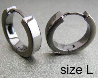 Men's Hoop Earrings - Men's Earrings - Black Gold Hoop Earrings - Male Etsy Earrings - Earrings for Guys - Large Polished Hoop E190SB
