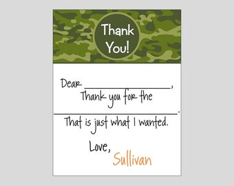 Camo Fill In Thank you Note Cards ~ Camoflauge Stationery
