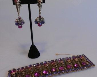 I Just Cannot Choose - 1950s Large Statement Magenta & Purple Rhinestone Gold Filigree Bracelet Earring Set