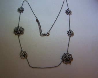 Long Blackened Silver Chain Brutalist Flower Accent Necklace