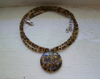 Tortoise Glass Bead Medalliion Necklace