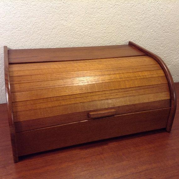 Vintage Teak Wood Roll Top Bread Box Danish Modern Mid Century