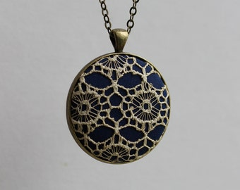 Antique Lace Necklace, Victorian Pendant, Beige and Navy Wedding Jewelry, Art Nouveau Bridesmaid, Lace Bridal Jewelry Gift, Unique, Women