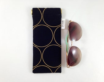 Black and Gold Sunglasses Case. Sunglasses Holder. Black Glasses Case. Gold and Black Circle Sunglasses Pouch. Padded Glasses Case Holder