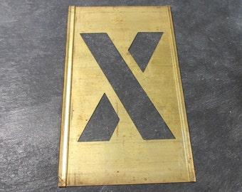 "Brass Stencil Letter X VINTAGE Brass Stencil 4"" Letter X Scrapbooking Altered Art Assemblage Mixed Media Supplies Stencil Letter X (Y35)"