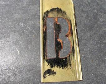 "Brass Stencil Letter B Brass Stencil VINTAGE 2"" Letter B Stencil Scrapbooking Altered Art Assemblage Mixed Media Supplies Stencil B (Y28)"