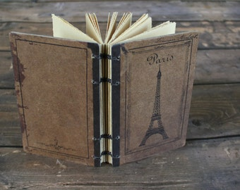 Eiffel tower journal, French, Paris, vintage, back to school, teachers, planner, blank sketchbook, handmade diary, hostess