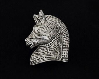 Vintage Trojan Horse Brooch Silver Tone Ancient Greek Mythology