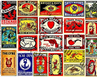 Matchbox Art - Printed Matchbook Cover, 21 Decorative Matchbox Art Paper Stickers, Safety Match Label Clip Art Tags, Old Advertising, 147a