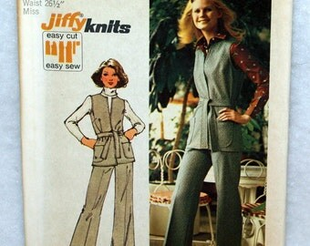 Vintage Simplicity Misses Vest and Pants Sewing Pattern #5858 Size 12 Jiffy Stretch Knits Unused