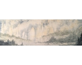 California Watercolor Painting Original Art Painting Watercolor on Canvas Art Forest Wooded Misty Landscape Watercolor Art Canvas Wall Art