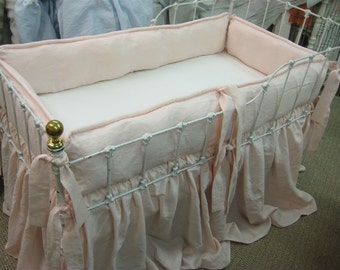 Brother-Sister Washed Linen Tailored Crib Bedding--Gathered Crib Skirts-Classic Crib Bedding Sets for Twins-Little Boy Blue and Ballet Pink