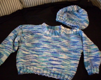 Hand knit boy's pullover sweater and hat