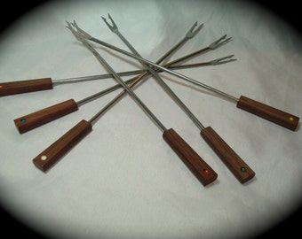 1970s Made In Japan Stainless with Wooden Handles Fondue Forks.